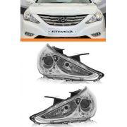 Farol Hyundai Sonata 2010 2011 2012 Máscara Cromada Par