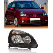Farol Renault Clio 2003 2004 2005 06 Máscara Negra Direito