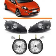 Kit Combo Fiat Punto 08 09 10 11 12par Farol Negro+par Milha