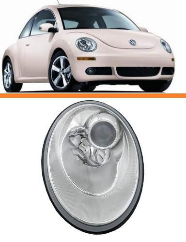 Farol New Beetle 2007 2008 2009 2010 2011 Cromado Direito  - Kaçula Auto Peças
