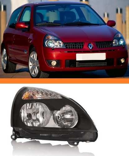 Farol Renault Clio 2003 2004 2005 06 Máscara Negra Direito  - Kaçula Auto Peças
