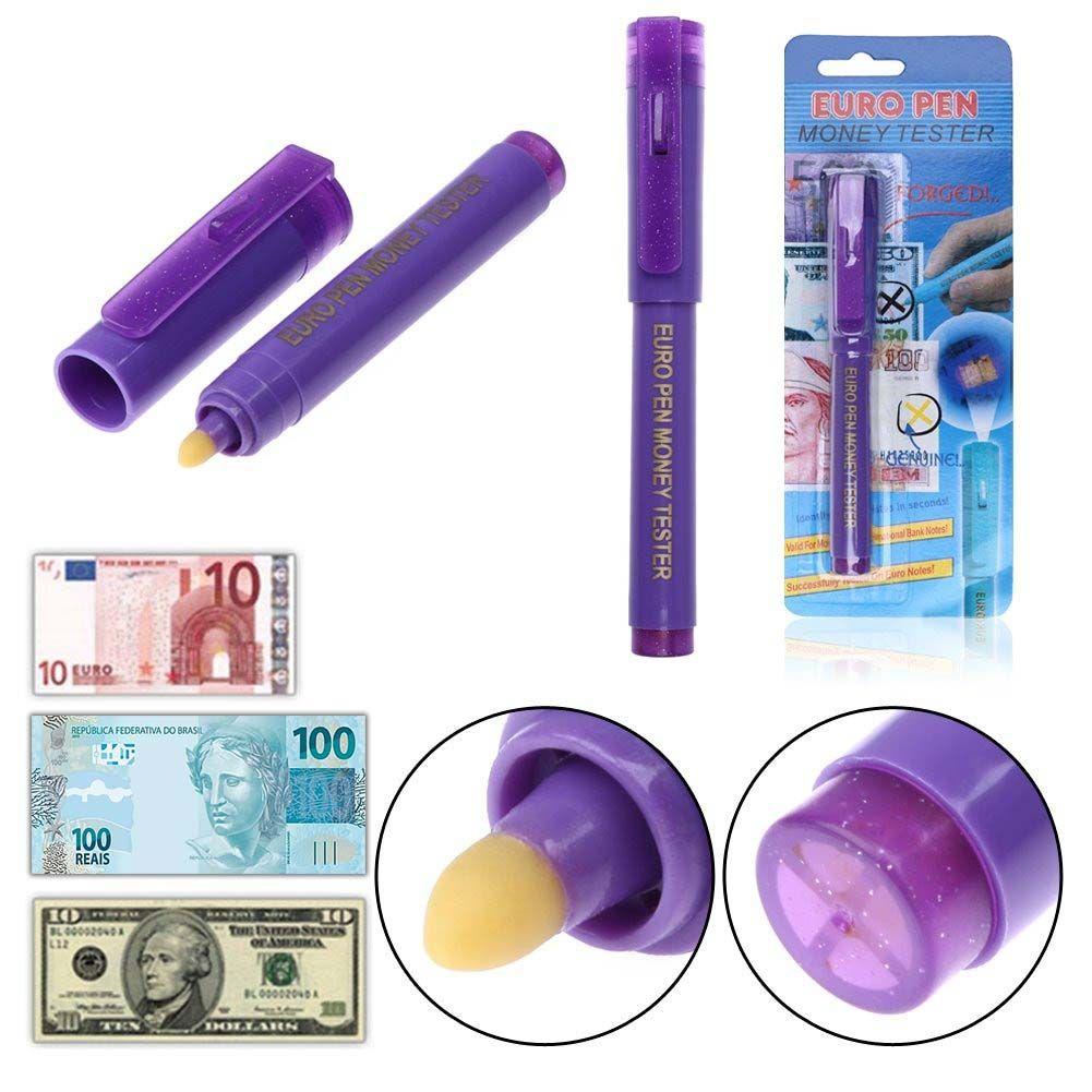 Caneta Testador De Dinheiro Nota Falsa Função Uv Led - Euro Pen