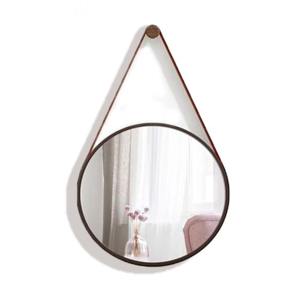 Espelho Decorativo Com Alças de Couro 45cm