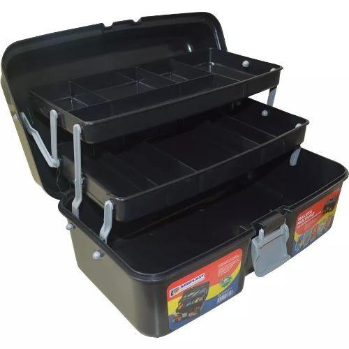 Caixa De Ferramentas Baú Grande Car Box C/ Rodas + 1 Maleta Preta