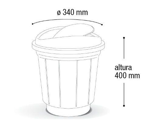 Lixeira C/ Tampa Basculante De Plástico 20 Litros