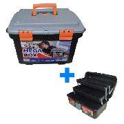 Kit Caixa Mega Box Para Ferramentas + Maleta Com Divisórias