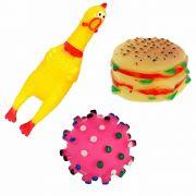 Kit Mordedor Pet 3 Brinquedos De Borracha Para Cães Cachorro
