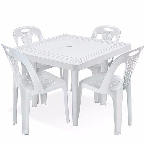 Mesa Plástica Quadrada Desmontável Branca 89 cm