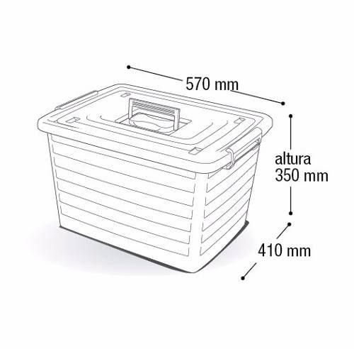 Kit 4 Caixas Organizadoras 2 De 50 L + 2 De 30 L Com Rodinha