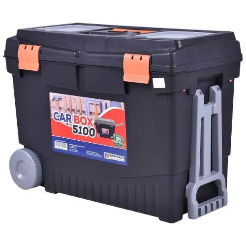 Caixa De Ferramentas Baú Grande Car Box C/ Rodas E 1 Maleta