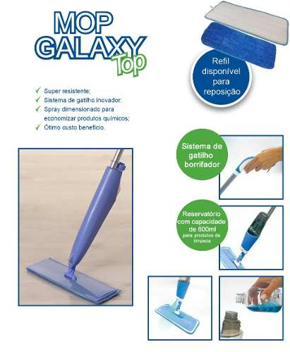 Rodo Mop Galaxy Top Spray Rodo Limpeza Pisos Remove Pelos