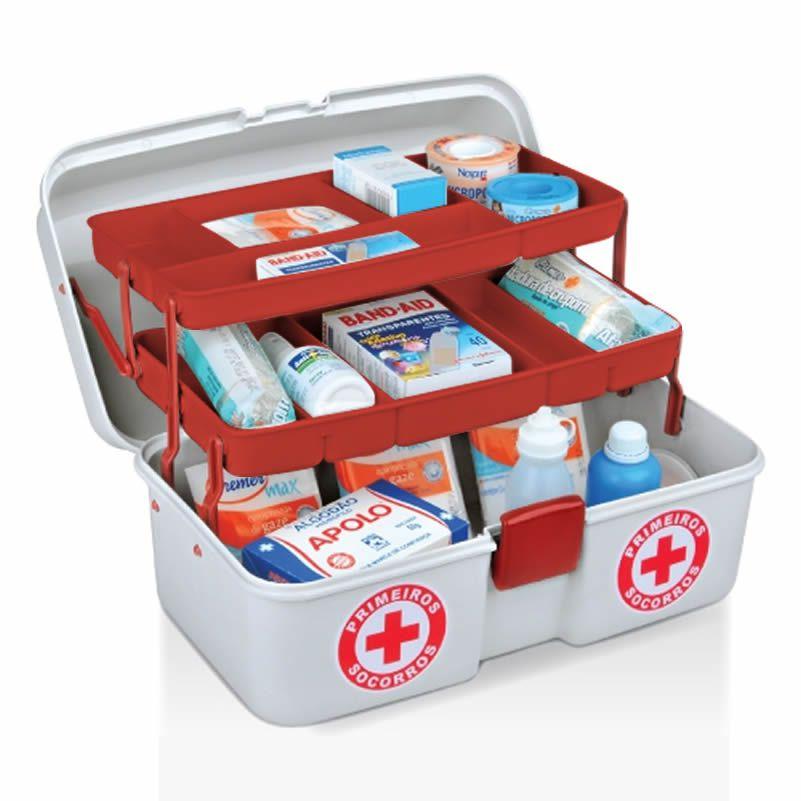 Kit 2 Maletas Primeiros Socorros De Medicamentos C/2 Bandejas