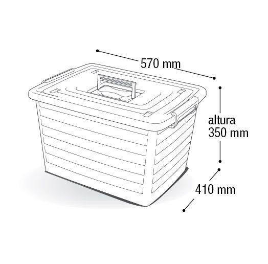 Kit 3 Caixas Organizadora Empilhável 30 Litros C/ Rodas