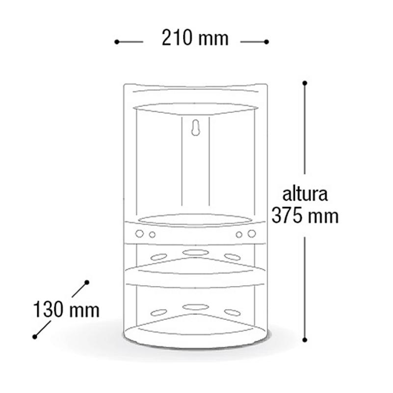 Kit 3 Cantoneiras Plástica Porta Shampoo Branco Cinza Preto