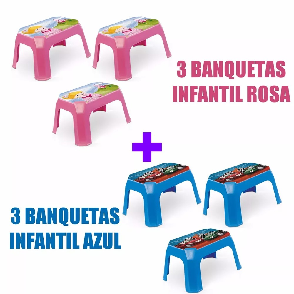 Kit 6 /bancos/banquetas Infantil Azul E Rosa C/ Label