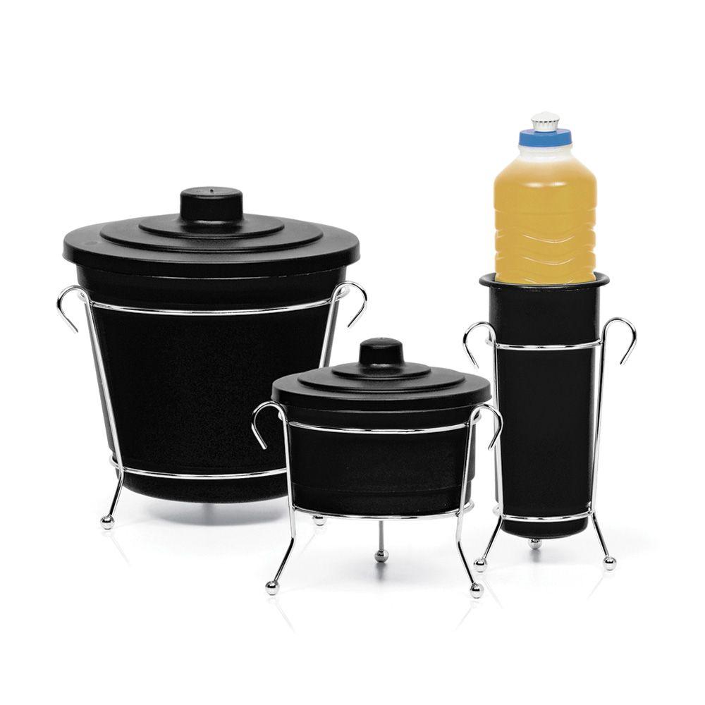 Kit Para Pia Cozinha Lixeira Sabão Detergente Cromo Colors