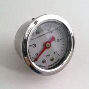 Manômetro para Linha de Combustível - 15 PSI com Líquido - Branco
