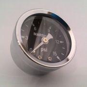 Manômetro para Linha de Combustível - 15 PSI - Preto