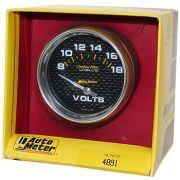 """Voltímetro - 8-18 Volts - Elétrico - 2"""" 5/8"""" - Carbon Fiber - AUTO METER"""