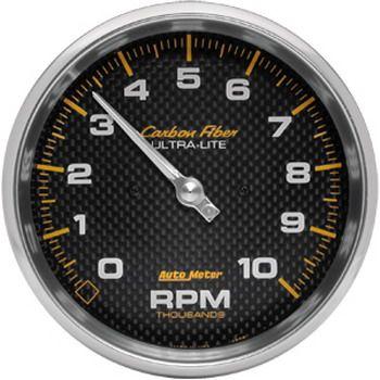 "Contagiros 10.000 Rpm - Elétrico - 5"" - Carbon Fiber - AUTO METER  - PRO-1 Serious Performance"