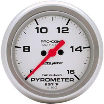 "Instrumento Medir Temperatura Gases Escape 0º - 1600º F - 2 Canais - Elétrico -2"" 5/8"" - Ultra-Lite  - PRO-1 Serious Performance"
