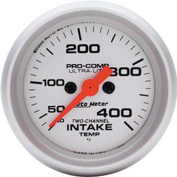 """Instrumento para Medir Temperatura De Ar De Admissão 30º F - 400º F 2 Canais - Elétrico - 2"""" 1/16"""" - Ultra Lite  - PRO-1 Serious Performance"""