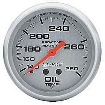 """Instrumento Temperatura de Óleo 140º - 280º F - Mecânico - 2"""" 5/8""""  - Pro-Comp Silver - Com Líquido  - PRO-1 Serious Performance"""