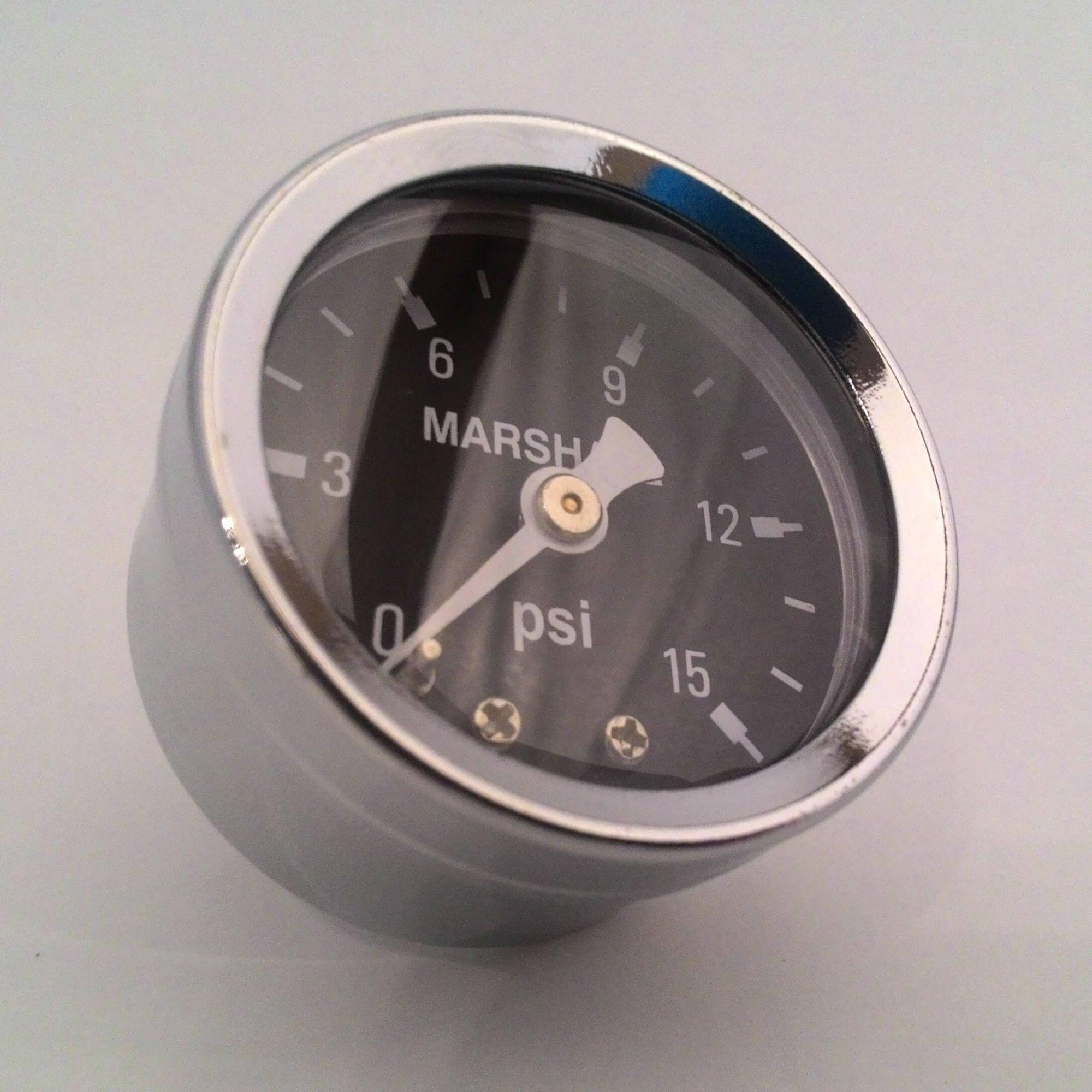 Manômetro para Linha de Combustível - 15 PSI - Preto - CHM  - PRO-1 Serious Performance