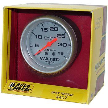 "Manômetro Pressão Água 0 - 35 PSI - Mecânico - 2 5/8"" - Ultra-Lite - 6 Ft. - AUTO METER  - PRO-1 Serious Performance"