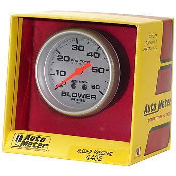 "Manômetro Pressão Blower 0 - 60 PSI - Mecânico - 2 5/8"" - Ultra-Lite  - PRO-1 Serious Performance"
