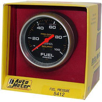 """Manômetro Pressão Combustível 0 - 100 PSI - Mecânico - 2"""" 5/8""""- Pro-Comp com Líquido - AUTO METER  - PRO-1 Serious Performance"""