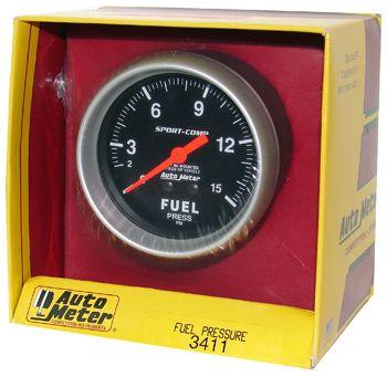 "Manômetro Pressão Combustível 0 - 15 PSI - Mecânico - 2 5/8"" - Sport Comp - AUTO METER  - PRO-1 Serious Performance"