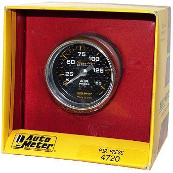 "Manômetro Pressão de Ar 0 - 150 PSI - Mecânico - 2"" 1/16"" - Carbon Fiber - AUTO METER  - PRO-1 Serious Performance"