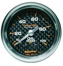 """Manômetro Pressão de Óleo 0-100 PSI - Mecânico - 2"""" 1/16"""" - Carbon Fiber  - PRO-1 Serious Performance"""