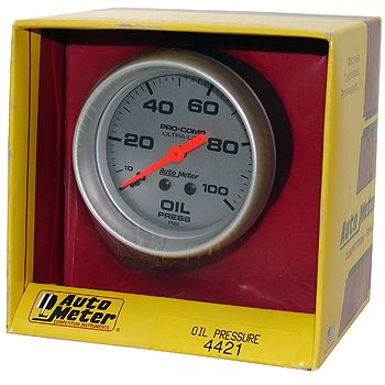 "Manômetro Pressão de Óleo 0 - 100 PSI - Mecânico - 2"" 5/8"" - Ultra-Lite - AUTO METER  - PRO-1 Serious Performance"