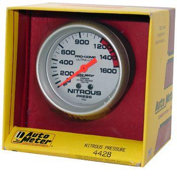 "Manômetro Pressão Nitro 0 - 1600 PSI - Mecânico - 2 5/8"" - Ultra-Lite - AUTO METER  - PRO-1 Serious Performance"