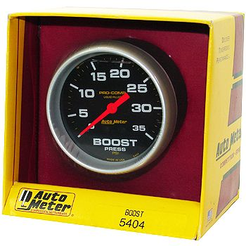 "Manômetro Pressão Turbo 0 - 35 PSI - Mecânico - 2"" 5/8"" - Pro-Comp com Líquido - AUTO METER  - PRO-1 Serious Performance"