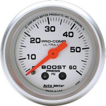 "Manômetro Pressão Turbo 0 - 60 PSI - Mecânico - 2"" 1/16"" - Ultra-Lite - AUTO METER  - PRO-1 Serious Performance"