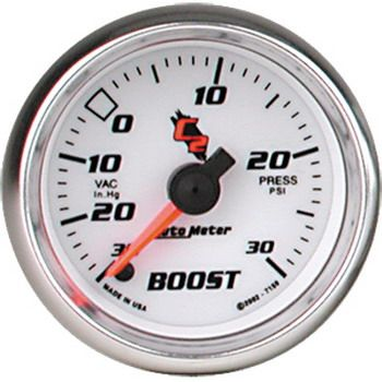 """Manômetro Pressão Turbo-Vácuo 0 - 30 PSI - Elétrico - 2"""" 1/16"""" - C2 - AUTO METER  - PRO-1 Serious Performance"""