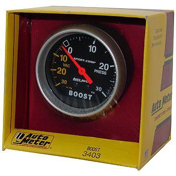 "Manômetro Pressão Turbo-Vácuo 0 - 30 PSI - Mecânico - 2 5/8"" - Sport Comp  - PRO-1 Serious Performance"