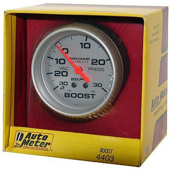 "Manômetro Pressão Turbo-Vácuo 0 - 30 Psi - Mecânico - 2 5/8"" - Ultra-Lite - AUTO METER  - PRO-1 Serious Performance"