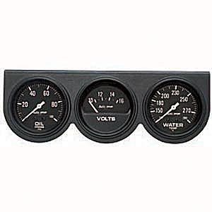 """Painel 3 Manômetros 2 5/8"""" Pressão de Óleo 0-100PSI/Temperatura de Água 140°-280°F/Voltímetro 10-16V - Auto Gage - Preto - AUTO METER  - PRO-1 Serious Performance"""