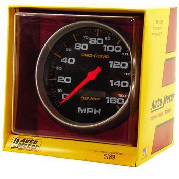 "Velocímetro 160 MPH - Elétrico - 5"" - Pro Comp Preto - AUTO METER  - PRO-1 Serious Performance"