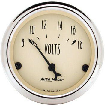 """Voltímetro - 8-18 Volts - Elétrico - 2 1/16"""" - Antique Beige  - PRO-1 Serious Performance"""