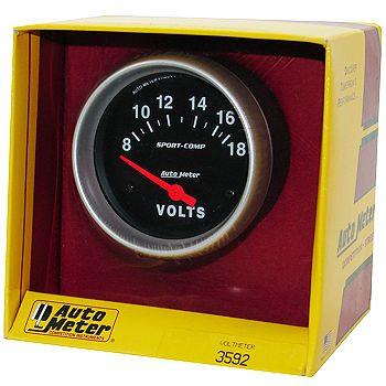 """Voltímetro - 8-18 Volts - Elétrico - 2 5/8"""" - Sport Comp  - PRO-1 Serious Performance"""