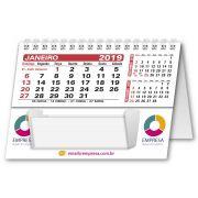Calendário de Mesa com Rascunho | 10,85x15cm | com Folha de Rosto | Impressão Colorida Frente (Aberto) | M140