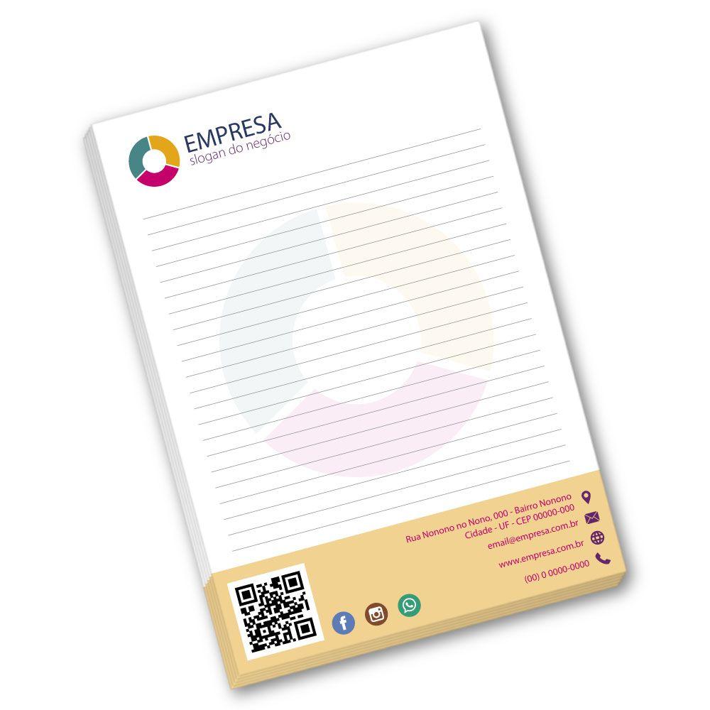 Bloco de Anotações A5 | 14,8x21cm | Sulfite 75g | Impressão Colorida Frente