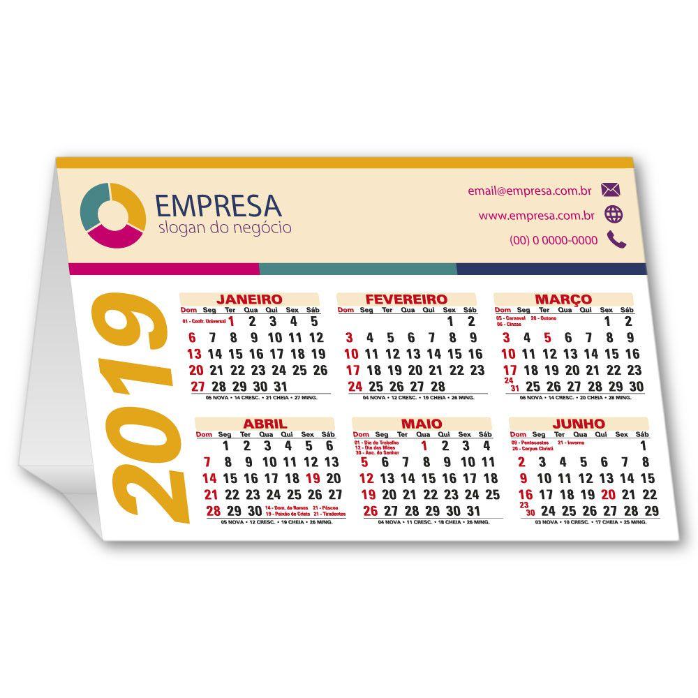 Calendário de Mesa | 13x19,5cm | Triplex 300g | Impressão Colorida Frente (Aberto) | M120