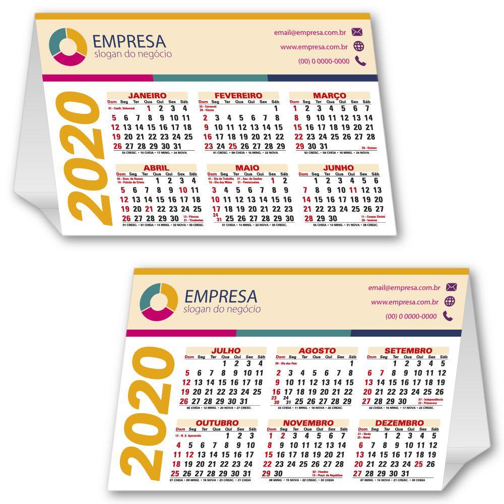 Calendário de Mesa   13x19,5cm   Triplex 300g   Impressão Colorida Frente (Aberto)   M120