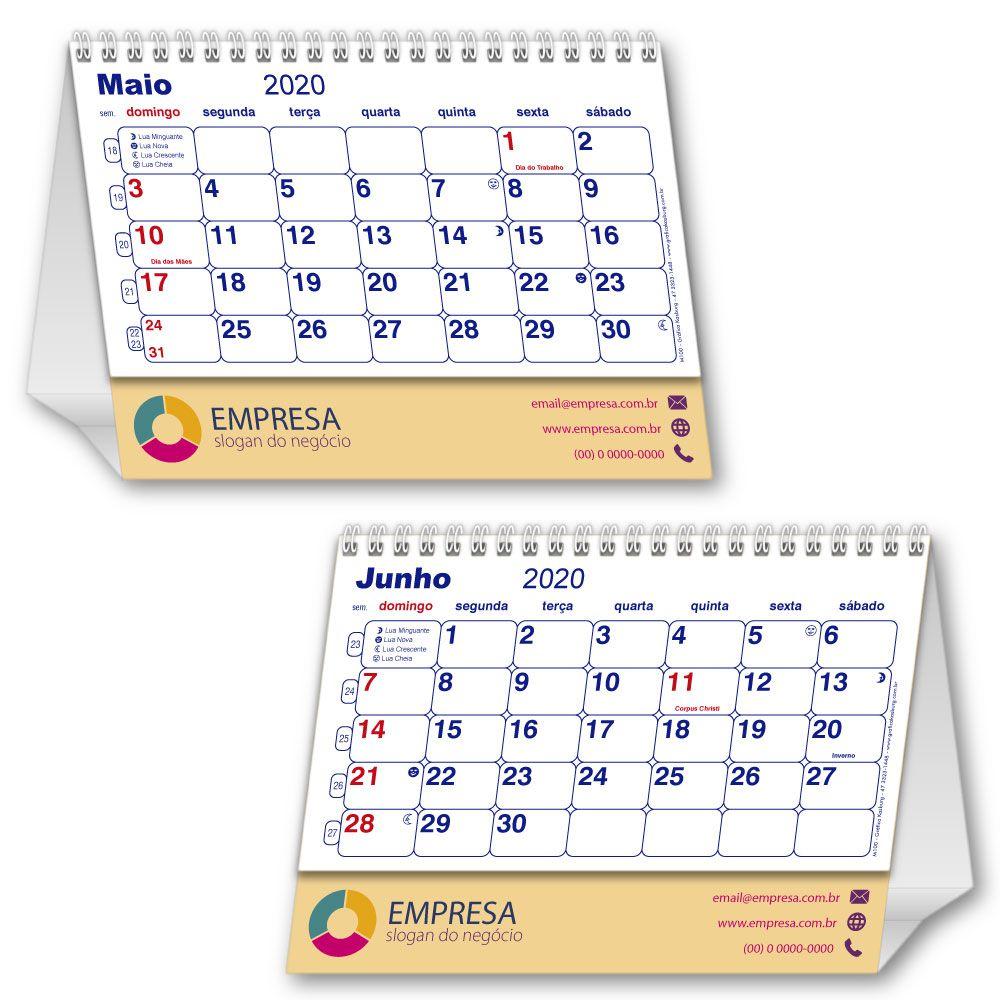 Calendário de Mesa | 14,5x19,5cm | com Folha de Rosto | Impressão Colorida Frente (Aberto) | M100